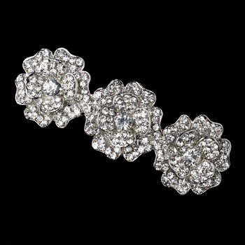 Antique Silver Clear Rhinestone Encrusted Flower Barrette 70965