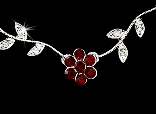 * Enchanting Silver Red Floral Bridal Jewelry Set NE 330