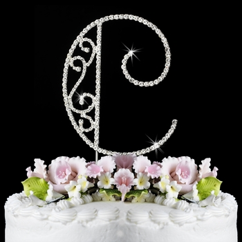 crystal letter wedding cake toppers romanesque swarovski wedding cake topper letter c 13111