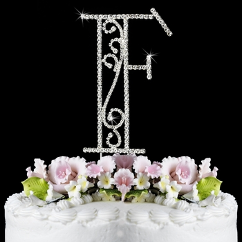 Romanesque ~ Swarovski Crystal Wedding Cake Topper ~ Letter F