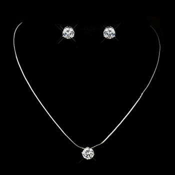 Silver Clear Oval CZ Crystal Necklace 2442 & Earrings 2432