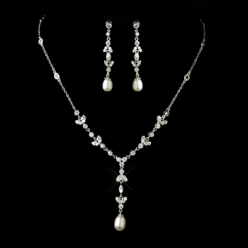Antique Silver Diamond White Freshwater Drop Pearl and Clear CZ Crystal Floral Necklace 2508 & Earrings 2525 Bridal Jewelry Set