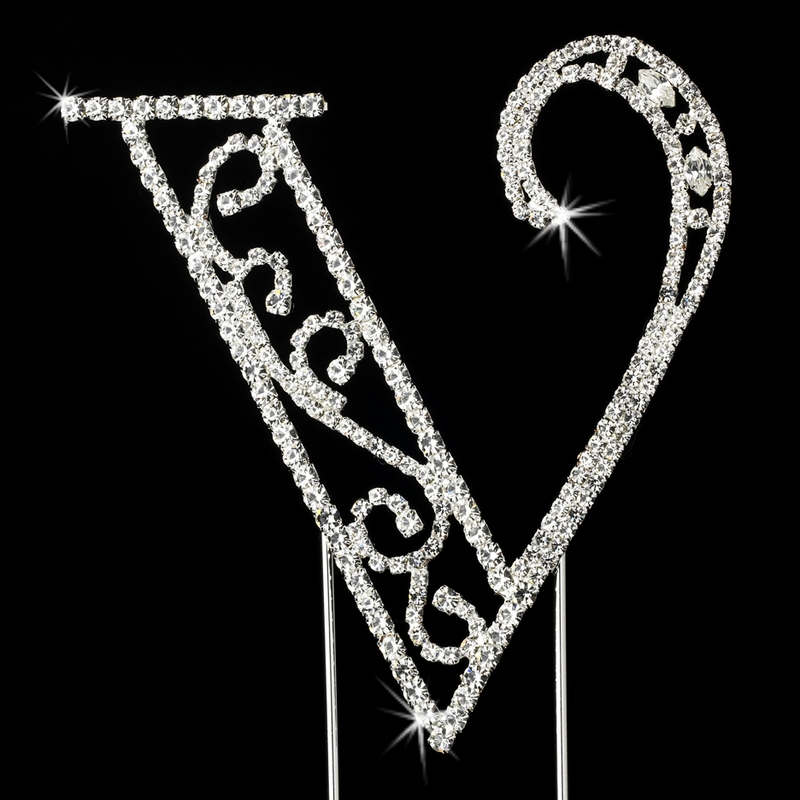 Wedding Cake Toppers Letter S : Romanesque ~ Swarovski Crystal Wedding Cake Topper ~ Letter V