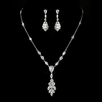 Antique Silver Clear CZ Stone Necklace 2745 & Earrings 9060 Bridal Jewelry Set