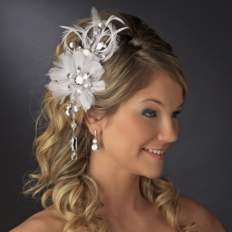 Vintage Bridal Feather Hair Fascinator With Dangling