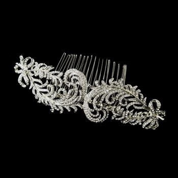Antique Silver Plating with Clear Rhinestones on a Floral Design Side Comb 9984