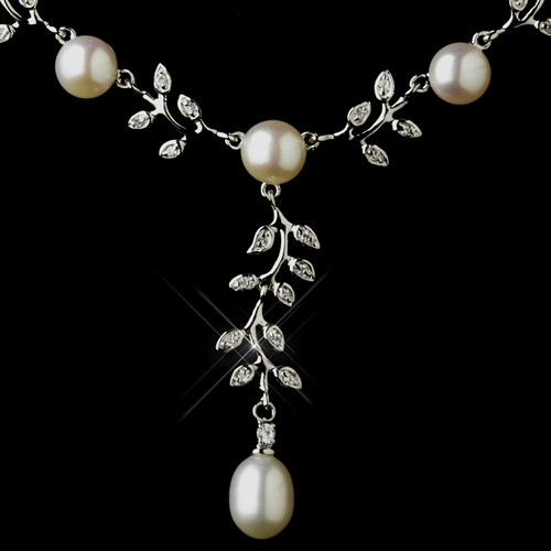 Antique Silver Diamond White Pearl Necklace 6518 & Earrings 6512 Bridal Jewelry Set