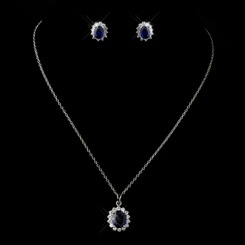 Antique Silver Sapphire CZ Crystal Necklace & Earrings Bridal Jewelry Set 8625