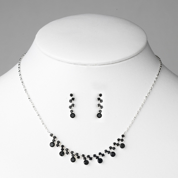 * Silver Black Rhinestone Bridal Jewelry Set NE 324