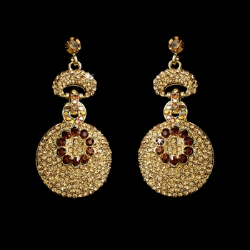Gold Brown Dangle Earring E 8291 **Discontinued**