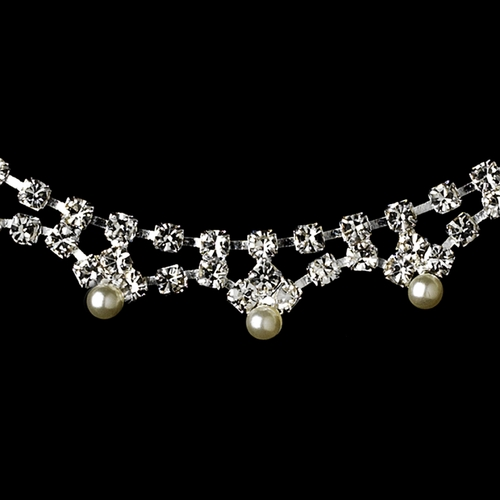 * Dazzling Silver Clear Rhinestone & White Pearl Necklace & Earring Set 170