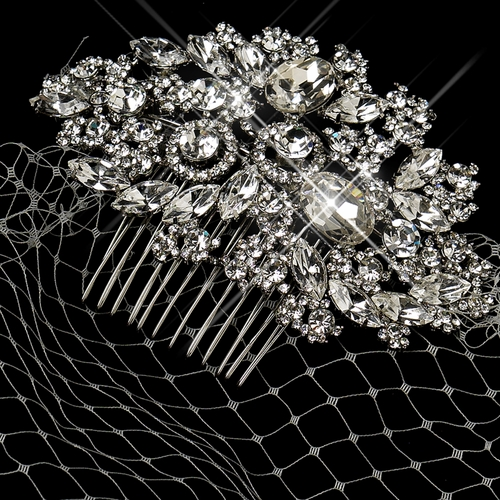 Cage Veil on Antique Silver Rhodium Multi Cut Crystal Side Comb 933