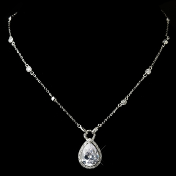 Silver Clear Cubic Zirconia Necklace N 2729