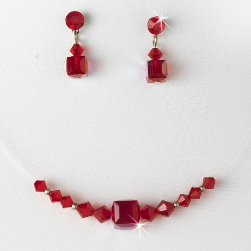Red Illusion Necklace & Earring Set NE 233