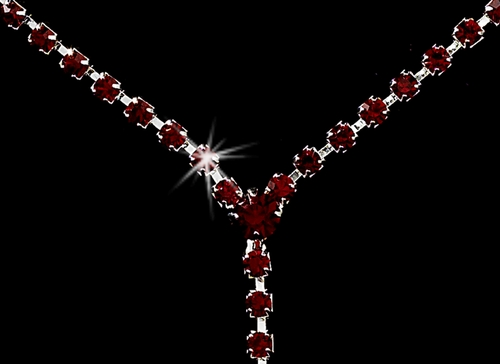 * Silver Red Y Drop Crystal Jewelry Set NE 313