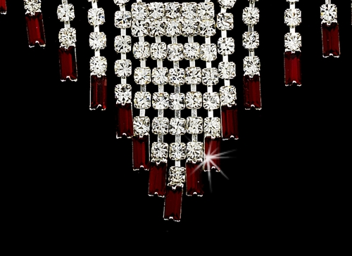 * Glamorous Silver Red Crystal Necklace & Earring Set NE 365