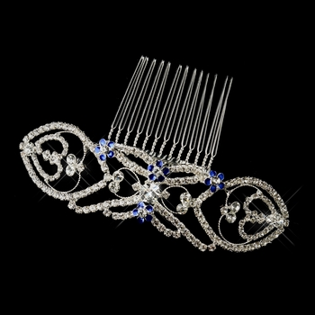 "Silver Clear & Blue Rhinestone Bella ""Twilight"" Comb 5829"