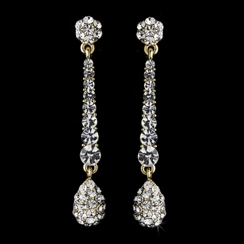 Elegant Gold & Clear Pave Drop Earrings E 945 **Discontinued**