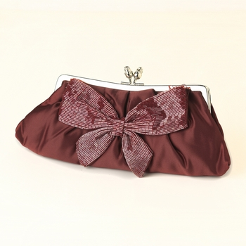 Red Matte Satin Bridal Beaded Bow Tie Evening Bag 301