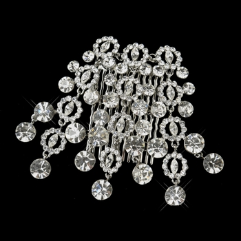 * Antique Silver Clear Round Cut Dangle Rhinestone Side Comb 406