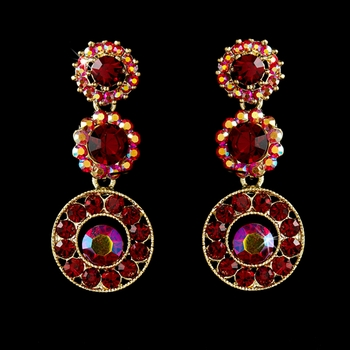 Gold Red Dangle Earring E 8292