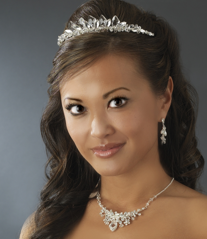 Wholesale Crystal Matching Bridal Jewelry Tiara Set from
