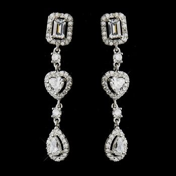 Antique Silver Clear Multi Cut CZ Earrings 8650
