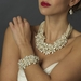 Silver Ivory Freshwater Floral Pearl &  Crystal Bead Bridal Clasp Bracelet 8774**Discontinued**