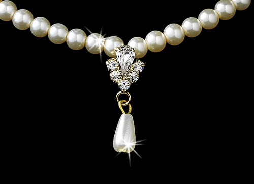 Gold Ivory Pearl Necklace and Earring Set NE 130
