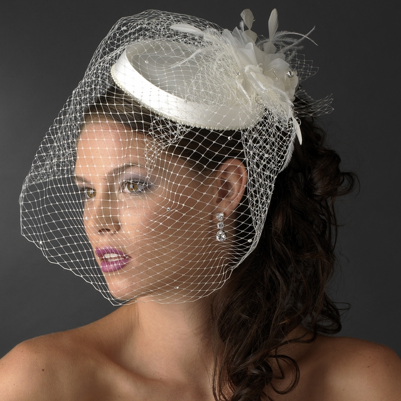 3b08e2628920c ... Vintage Couture Bridal Hat of Rhinestones   Tulle with Russian Blusher  Veil 1133