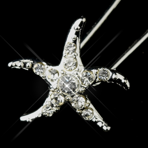 Silver Clear Rhinestone Starfish Hair Pin 2118 (Set of 2)