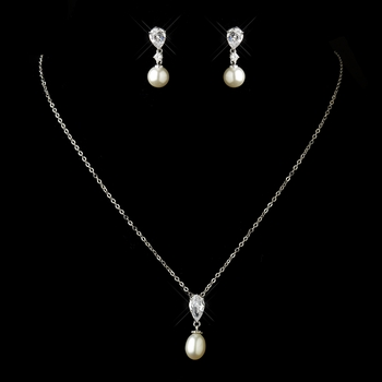 Antique Silver Pearl CZ Necklace 2501 & Earrings 3889 Jewelry Set