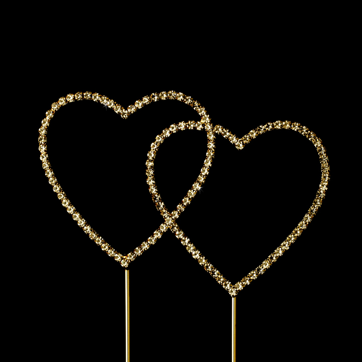 Renaissance Swarovski Crystal Wedding Cake Topper Double Gold Heart