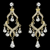Rhinestone Encrusted Gold Plating Chandelier Earrings - E 1034