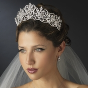 Silver Clear Rhinestone Floral Bridal Royal Tiara Headpiece 18693