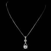 Silver Clear CZ Crystal Tear Drop Necklace 5042