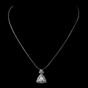 Silver Clear CZ Triangle Crystal Necklace 8976