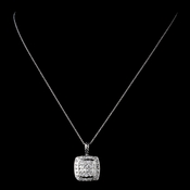 Solid 925 Sterling Silver CZ Crystal Square Pave Pendent Drop Necklace 9989