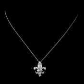 Solid 925 Sterling Silver CZ Crystal Fleur De Lis Necklace 9991
