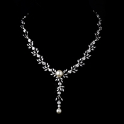 Silver Ivory Pearl Drop & Clear CZ Stone Necklace 9955 ** Discontinued***