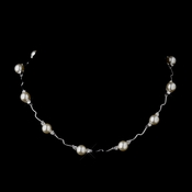 Silver Ivory Pearl and CZ Crystal Bridal Necklace 8764