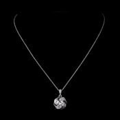 Silver Clear & Black CZ Pendant Necklace 8785