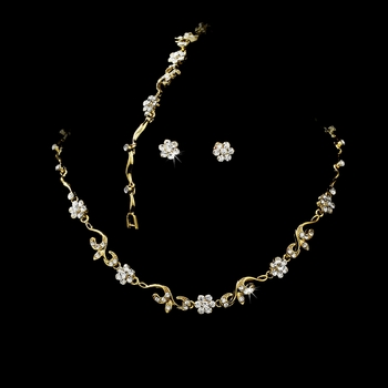 * Gold Clear Floral Bridal Jewelry Set NEB 381