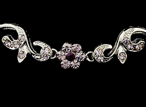 * Silver Light Amethyst Floral Bridal Jewelry Set NEB 381