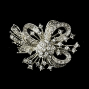 Antique Silver Clear Rhinestone Bow Tie Brooch 179
