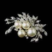 Antique Silver Diamond White Pearl & Rhinestone Floral Brooch 175