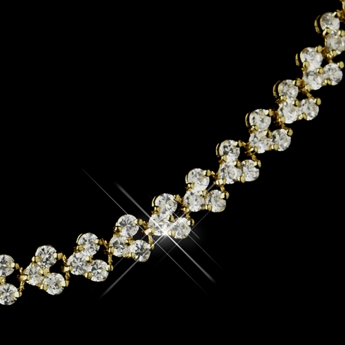 Gold Clear Oval CZ Crystal Necklace 2026, Earrings 2024 & Bracelet 2026 3 Piece Linked Bridal Jewelry Set***Necklace Discontinued***