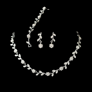 Gorgeous Crystal Floral Vine Bridal Jewelry Set NEB 394
