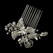 Antique Silver Freshwater Pearl, Swarovski Crystal & Rhinestone Flower and Leaf Hair Comb 758