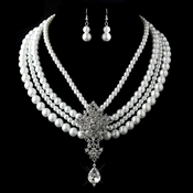 Antique Silver White Pearl & Rhinestone Necklace & Earrings Jewelry Set 13178